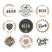 Vector set of beer labels, emblems, badges in retro style. Vintage black and gold color craft beer symbols, icons, typography design elements on white background.