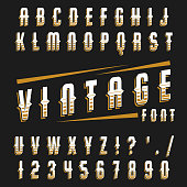 Vector set of letters in retro style, vintage, old. Isolated letters and numbers.