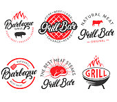 Vector set of grill bar and bbq labels, emblems, badges, logo in retro style. Vintage black and red color barbecue symbols, icons, typography design elements on white background.