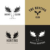 Vector set of vintage hunting emblems. Deer, elk, moose