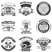 Vector set of vintage motorcycle s, emblems, badges, symbols, icons isolated on white background. Typography design for motorcycle service, moto club and print.
