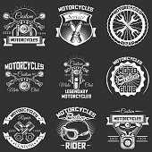 Vector set of motorcycle emblems, badges, labels,  in retro style. Vintage chalkboard motorcycle repair service, motor club symbols, icons, typography design elements.