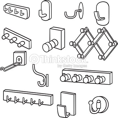 Vector set of wall coat rack and coat hook vector art for Wall pegs and racks