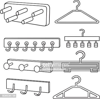 Vector Set Of Wall Coat Rack And Hanger Vector Art