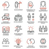 Vector set outline icons related to educational process, career progress, training, tutorship and professional consulting service. Mono line pictograms and infographics design elements - 3