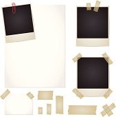 Vector set with adhesive tape, photos, note, paper isolated on white