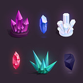 Vector set with different colorful cartoon crystals. Icons for games