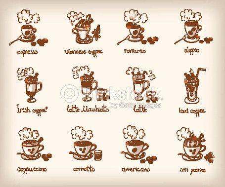 Set vettoriale di diversi tipi di caff arte vettoriale - Diversi tipi di caffe ...