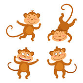 Vector set with funny monkeys in cartoon style. Cute little monkeys isolated on white