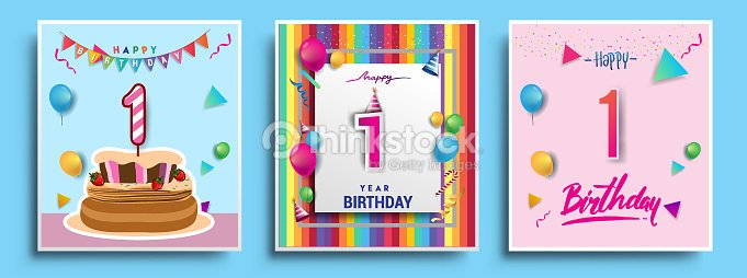 Vector Sets Of Birthday Invitation Greeting Card Design With Confetti And Balloons Cake Colorful Template Elements For Your