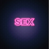 Sex shop neon sign brick wall background. Bright light pink electric lamp illuminated glowing decoration. Signage advertising design template Retro vintage store banner vector illustration
