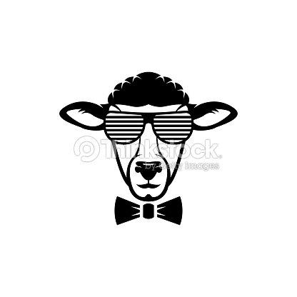 Vektor Schaf Kopf Gesicht Für Retros Embleme Abzeichen Etiketten ...