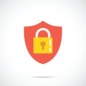 Vector shield and lock icon. Modern flat design vector illustration concept for web banners, web and mobile app, web sites, printed materials, infographics. Vector icon isolated on gradient background