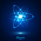 Vector shining neon lights atom model.