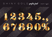 Vector Shiny Gold Alphabet. Realistic Metallic Typeface in Gatsby Style. Festive 3D Letters for Christmas Poster, Xmas Greeting Card, Invitation Design. Rich Stylish Retro Typography.
