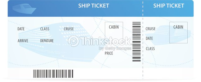 Vector Ship Ticket Template With Silhouette Travel By Cruise Liner