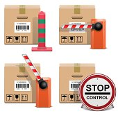 Vector Shipment Icons, including barrier, column and stop sign isolated on white background