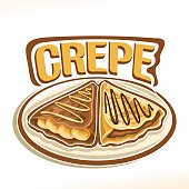 Vector sign for french Crepe confection, 2 triangle suzette with sliced banana & chocolate spread dessert on plate, original typography font for word crepe, fried thin pancakes topping choco sauce.