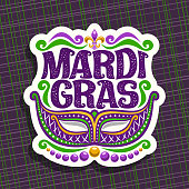 Vector sign for Mardi Gras Carnival, poster with venetian masquerade mask, symbol fleur de lis, original font for festive text mardi gras on dark abstract background, sign for carnival in New Orleans.