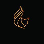 Vector sign Fox in flat design on black background