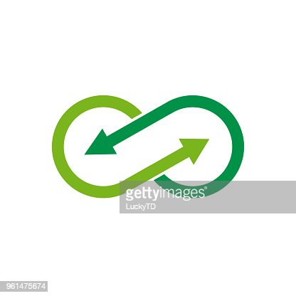 Vector sign infinite with arrows. Green recycling : stock vector