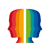 Vector sign psychologist, colored heads