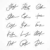 Vector Signature fictitious Autograph on white background