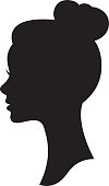 Vector silhouette of a woman with a wedding hairstyle portrait in profile Stock Illustration