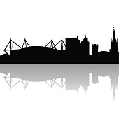 Black silhouette skyline of Cardiff. UK. Vector illustration