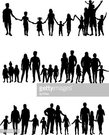 Vector silhouette of children on white background. : stock vector