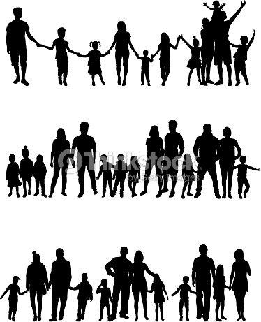 Vector silhouette of children on white background. : arte vetorial