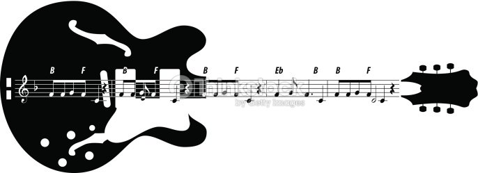 Vector Silhouette Of Guitar With Musical Symbols Vector Art Thinkstock
