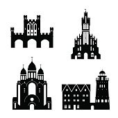 Silhouettes of Kaliningrad landmarks. Vector illustration.