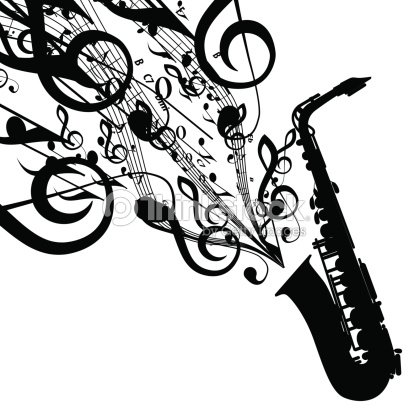 Vector Silhouette Of Saxophone With Musical Symbols Vector Art