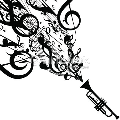 Vector Silhouette Of Trumpet With Musical Symbols Vector Art