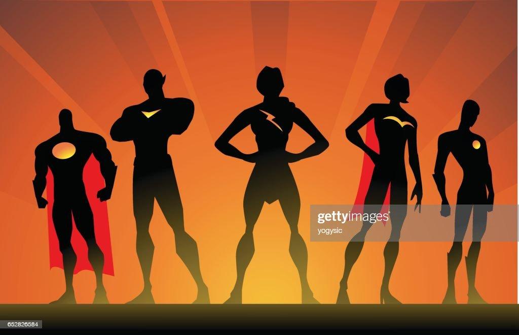 Vector Silhouette Superhero Team Pose : Vector Art