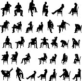 Vector silhouettes of people who sit on white background.