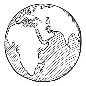 Vector Single Black Sketch Globe Illustration on Isolated Background