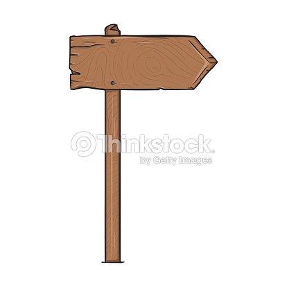 vector single cartoon wooden signpost vector art thinkstock