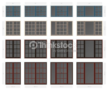 Vector single hung colonial style composite window set in different sizes and colors