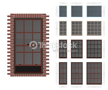 Vector single hung colonial style typical window set in different sizes and colors