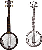 Banjo guitar string musical instrument. Vector sketch symbol of folk or national guitar of plucking type with three strings for ethnic music concert or festival design