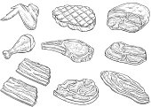 Meat and chicken sketch icons. Vector isolated symbols of fresh or grill chicken leg and wing, pork bacon ham and beef steak sirloin or tenderloin brisket and T-bone steak for barbecue or butcher shop