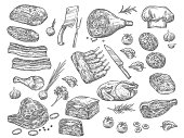 Meat sketch icons set for butchery products. Vector isolated set of farm fresh meat products of beef loin or tenderloin filet, mutton ribs or steak and pork meaty ham brisket, chicken or turkey