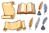 Old vintage books and literature writing stationery sketch icons set. Vector design for rarity bookshop or book store of ancient rare books and manuscripts, ink pen quill or feather in library inkwell