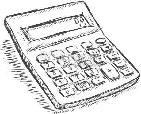 Vector Sketch Illustration Calculator stock vector