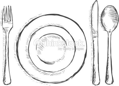 Vector illustration esquissecouverts fourchette assiette couteau cuill re clipart vectoriel - Assiette dessin ...