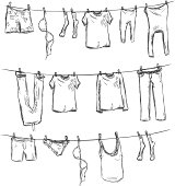 Vector Sketch of Laundry on a Rope