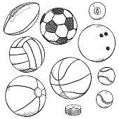 Vector Pencil Sketch Set of Sport Balls