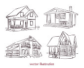 Sketch set of wooden house. Vector isolated illustration for design on white background
